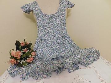 Zástěra květovaná růžovo-modrá