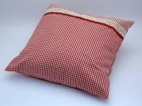 Polštářek kombinovaný 40 x 40 cm Pruh 04 + Piko 04 červená
